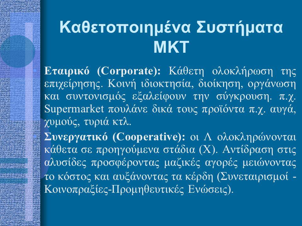 Καθετοποιημένα Συστήματα ΜΚΤ •Εταιρικό (Corporate): Κάθετη ολοκλήρωση της επιχείρησης. Κοινή ιδιοκτησία, διοίκηση, οργάνωση και συντονισμός εξαλείφουν