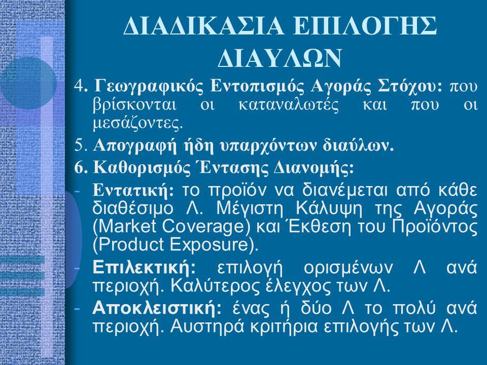 ΔΙΑΔΙΚΑΣΙΑ ΕΠΙΛΟΓΗΣ ΔΙΑΥΛΩΝ 4. Γεωγραφικός Εντοπισμός Αγοράς Στόχου: που βρίσκονται οι καταναλωτές και που οι μεσάζοντες. 5. Απογραφή ήδη υπαρχόντων δ