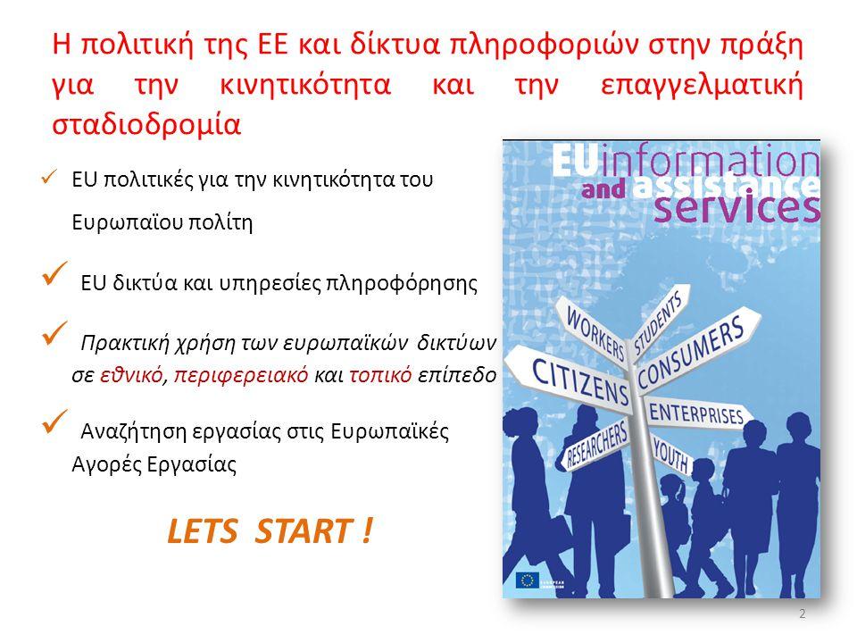  EU πολιτικές για την κινητικότητα του Ευρωπαϊου πολίτη  ΕU δικτύα και υπηρεσίες πληροφόρησης  Πρακτική χρήση των ευρωπαϊκών δικτύων σε εθνικό, περ