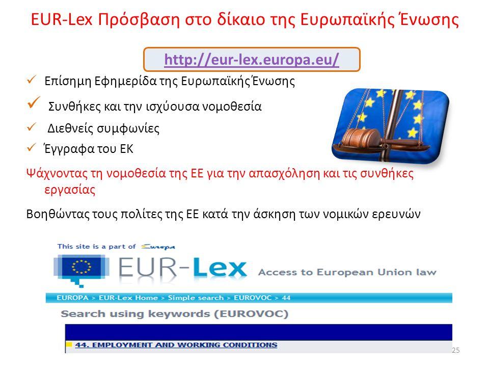 EUR-Lex Πρόσβαση στο δίκαιο της Ευρωπαϊκής Ένωσης 25  Επίσημη Εφημερίδα της Ευρωπαϊκής Ένωσης  Συνθήκες και την ισχύουσα νομοθεσία  Διεθνείς συμφων