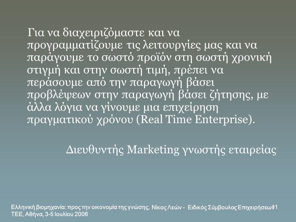 Ελληνική βιομηχανία: προς την οικονομία της γνώσης, ΤΕΕ, Αθήνα, 3-5 Ιουλίου 2006 Νίκος Λεών - Ειδικός Σύμβουλος Επιχειρήσεων 11 Για να διαχειριζόμαστε