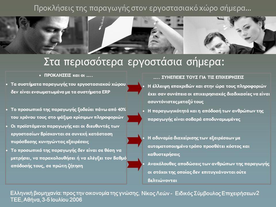 Ελληνική βιομηχανία: προς την οικονομία της γνώσης, ΤΕΕ, Αθήνα, 3-5 Ιουλίου 2006 Νίκος Λεών - Ειδικός Σύμβουλος Επιχειρήσεων 2 Προκλήσεις της παραγωγή