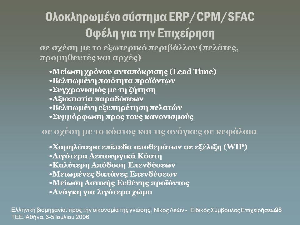 Ελληνική βιομηχανία: προς την οικονομία της γνώσης, ΤΕΕ, Αθήνα, 3-5 Ιουλίου 2006 Νίκος Λεών - Ειδικός Σύμβουλος Επιχειρήσεων 28 Ολοκληρωμένο σύστημα E