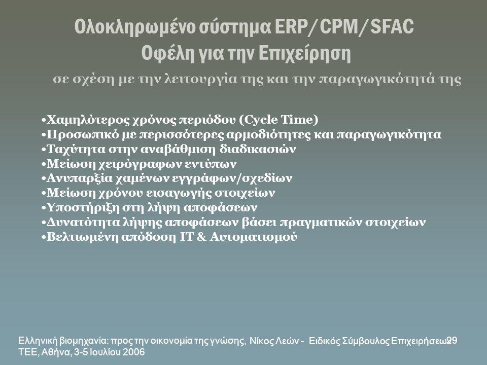 Ελληνική βιομηχανία: προς την οικονομία της γνώσης, ΤΕΕ, Αθήνα, 3-5 Ιουλίου 2006 Νίκος Λεών - Ειδικός Σύμβουλος Επιχειρήσεων 29 Ολοκληρωμένο σύστημα E