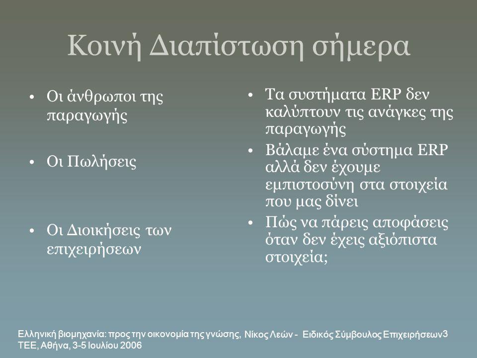 Ελληνική βιομηχανία: προς την οικονομία της γνώσης, ΤΕΕ, Αθήνα, 3-5 Ιουλίου 2006 Νίκος Λεών - Ειδικός Σύμβουλος Επιχειρήσεων 3 Κοινή Διαπίστωση σήμερα