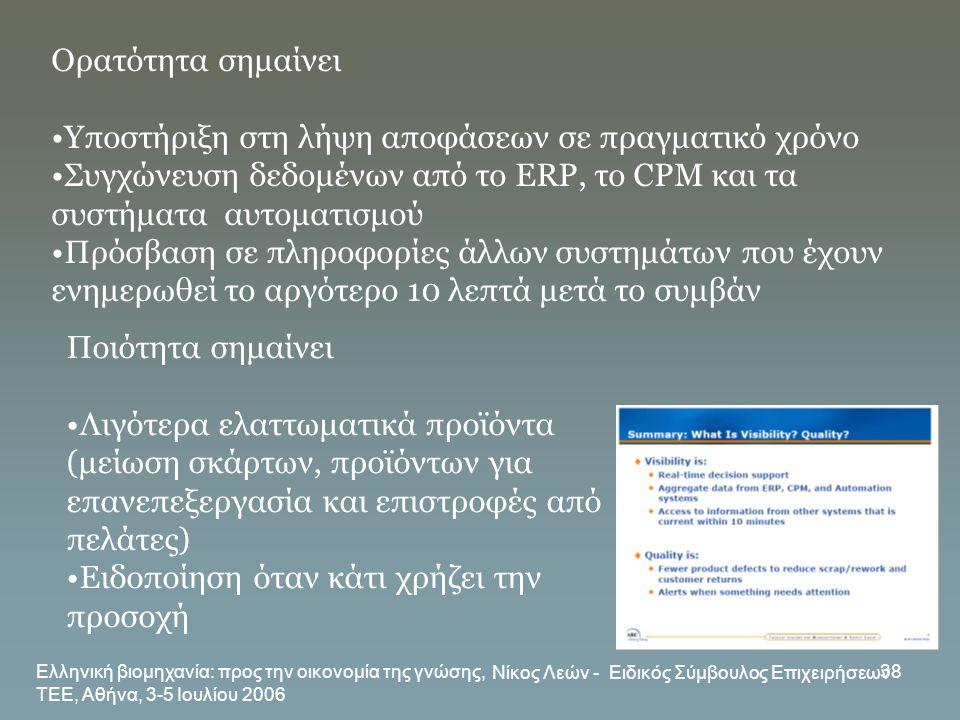 Ελληνική βιομηχανία: προς την οικονομία της γνώσης, ΤΕΕ, Αθήνα, 3-5 Ιουλίου 2006 Νίκος Λεών - Ειδικός Σύμβουλος Επιχειρήσεων 38 Ορατότητα σημαίνει •Υπ