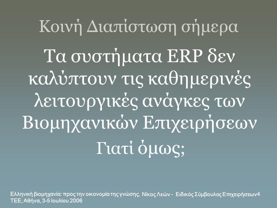 Ελληνική βιομηχανία: προς την οικονομία της γνώσης, ΤΕΕ, Αθήνα, 3-5 Ιουλίου 2006 Νίκος Λεών - Ειδικός Σύμβουλος Επιχειρήσεων 4 Κοινή Διαπίστωση σήμερα