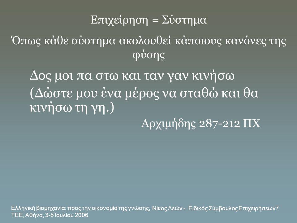 Ελληνική βιομηχανία: προς την οικονομία της γνώσης, ΤΕΕ, Αθήνα, 3-5 Ιουλίου 2006 Νίκος Λεών - Ειδικός Σύμβουλος Επιχειρήσεων 7 Δος μοι πα στω και ταν