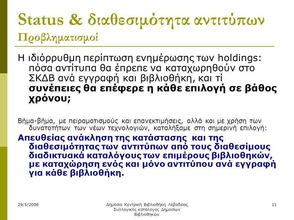 29/5/2008Δημόσια Κεντρική Βιβλιοθήκη Λεβαδείας Συλλογικός κατάλογος Δημοσίων Βιβλιοθηκών 11 Status & διαθεσιμότητα αντιτύπων Προβληματισμοί Η ιδιόρρυθμη περίπτωση ενημέρωσης των holdings: πόσα αντίτυπα θα έπρεπε να καταχωρηθούν στο ΣΚΔΒ ανά εγγραφή και βιβλιοθήκη, και τί συνέπειες θα επέφερε η κάθε επιλογή σε βάθος χρόνου; Βήμα-βήμα, με πειραματισμούς και επανεκτιμήσεις, αλλά και με χρήση των δυνατοτήτων των νέων τεχνολογιών, καταλήξαμε στη σημερινή επιλογή: Απευθείας ανάκληση της κατάστασης και της διαθεσιμότητας των αντιτύπων από τους διαθεσίμους διαδικτυακά καταλόγους των επιμέρους βιβλιοθηκών, με καταχώρηση ενός και μόνο αντιτύπου ανά εγγραφή για κάθε βιβλιοθήκη.