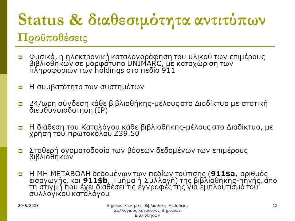 29/5/2008Δημόσια Κεντρική Βιβλιοθήκη Λεβαδείας Συλλογικός κατάλογος Δημοσίων Βιβλιοθηκών 12 Status & διαθεσιμότητα αντιτύπων Προϋποθέσεις  Φυσικά, η
