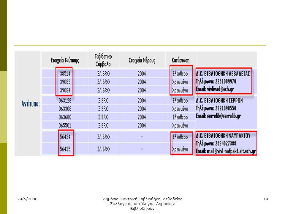 29/5/2008Δημόσια Κεντρική Βιβλιοθήκη Λεβαδείας Συλλογικός κατάλογος Δημοσίων Βιβλιοθηκών 19