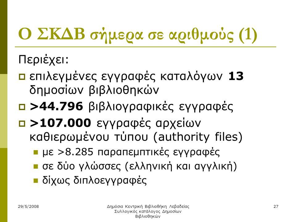 29/5/2008Δημόσια Κεντρική Βιβλιοθήκη Λεβαδείας Συλλογικός κατάλογος Δημοσίων Βιβλιοθηκών 27 Ο ΣΚΔΒ σήμερα σε αριθμούς (1) Περιέχει:  επιλεγμένες εγγραφές καταλόγων 13 δημοσίων βιβλιοθηκών  >44.796 βιβλιογραφικές εγγραφές  >107.000 εγγραφές αρχείων καθιερωμένου τύπου (authority files)  με >8.285 παραπεμπτικές εγγραφές  σε δύο γλώσσες (ελληνική και αγγλική)  δίχως διπλοεγγραφές