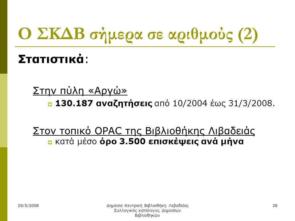 29/5/2008Δημόσια Κεντρική Βιβλιοθήκη Λεβαδείας Συλλογικός κατάλογος Δημοσίων Βιβλιοθηκών 28 Ο ΣΚΔΒ σήμερα σε αριθμούς (2) Στατιστικά: Στην πύλη «Αργώ»  130.187 αναζητήσεις από 10/2004 έως 31/3/2008.