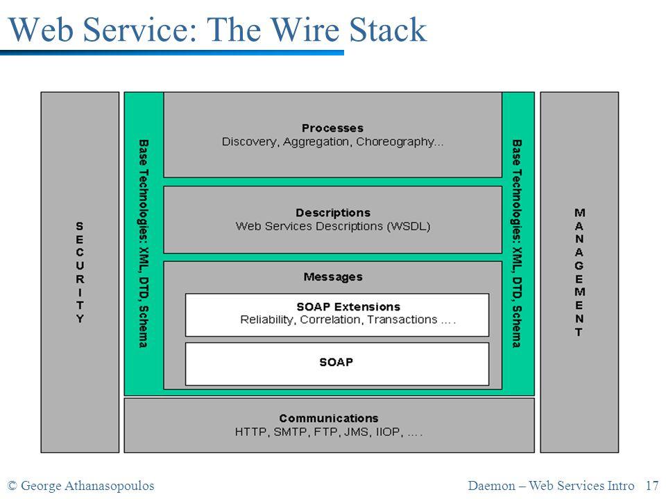 © George AthanasopoulosDaemon – Web Services Intro 17 Web Service: The Wire Stack