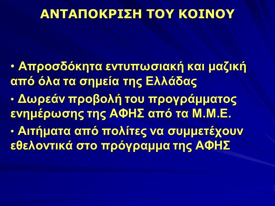 ΑΝΤΑΠΟΚΡΙΣΗ ΤΟΥ ΚΟΙΝΟΥ • Απροσδόκητα εντυπωσιακή και μαζική από όλα τα σημεία της Ελλάδας • Δωρεάν προβολή του προγράμματος ενημέρωσης της ΑΦΗΣ από τα Μ.Μ.Ε.
