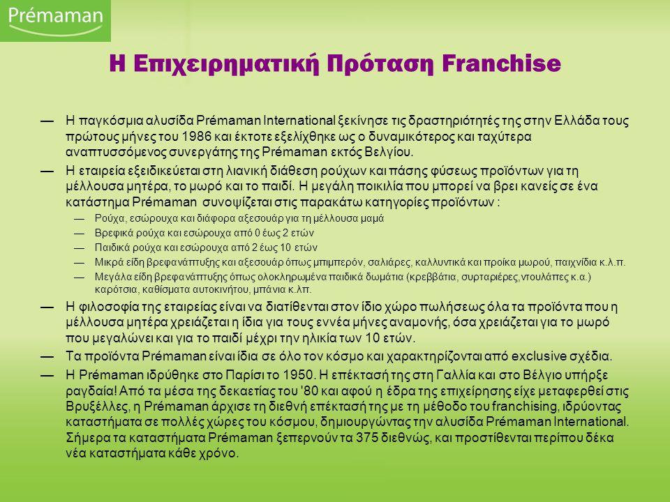 —Η παγκόσμια αλυσίδα Prémaman International ξεκίνησε τις δραστηριότητές της στην Ελλάδα τους πρώτους μήνες του 1986 και έκτοτε εξελίχθηκε ως ο δυναμικ