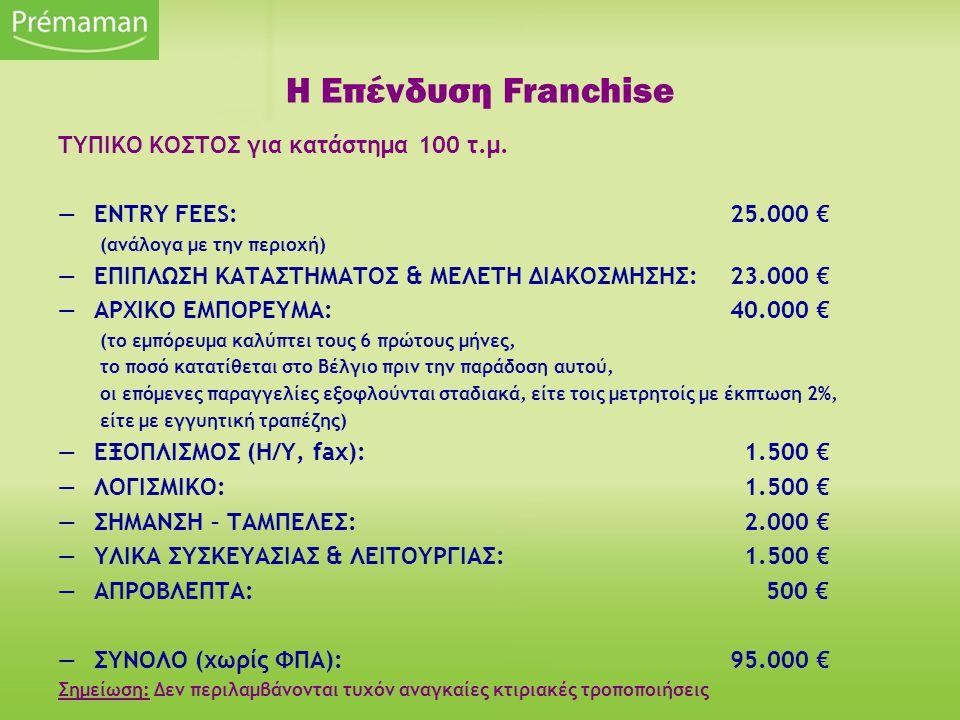 ΤΥΠΙΚΟ ΚΟΣΤΟΣ για κατάστημα 100 τ.μ. —ENTRY FEES:25.000 € (ανάλογα με την περιοχή) —ΕΠΙΠΛΩΣΗ ΚΑΤΑΣΤΗΜΑΤΟΣ & ΜΕΛΕΤΗ ΔΙΑΚΟΣΜΗΣΗΣ: 23.000 € —ΑΡΧΙΚΟ ΕΜΠΟΡ