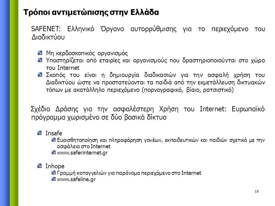 18 SAFENET: Ελληνικό Όργανο αυτορρύθμισης για το περιεχόμενο του Διαδικτύου Μη κερδοσκοπικός οργανισμός Υποστηρίζεται από εταιρίες και οργανισμούς που