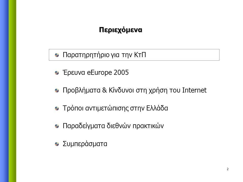 2 Παρατηρητήριο για την ΚτΠ Έρευνα eEurope 2005 Προβλήματα & Κίνδυνοι στη χρήση του Internet Τρόποι αντιμετώπισης στην Ελλάδα Παραδείγματα διεθνών πρακτικών Συμπεράσματα Περιεχόμενα