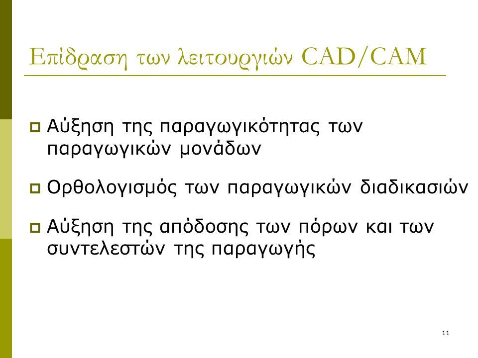11 Επίδραση των λειτουργιών CAD/CAM  Αύξηση της παραγωγικότητας των παραγωγικών μονάδων  Ορθολογισμός των παραγωγικών διαδικασιών  Αύξηση της απόδο