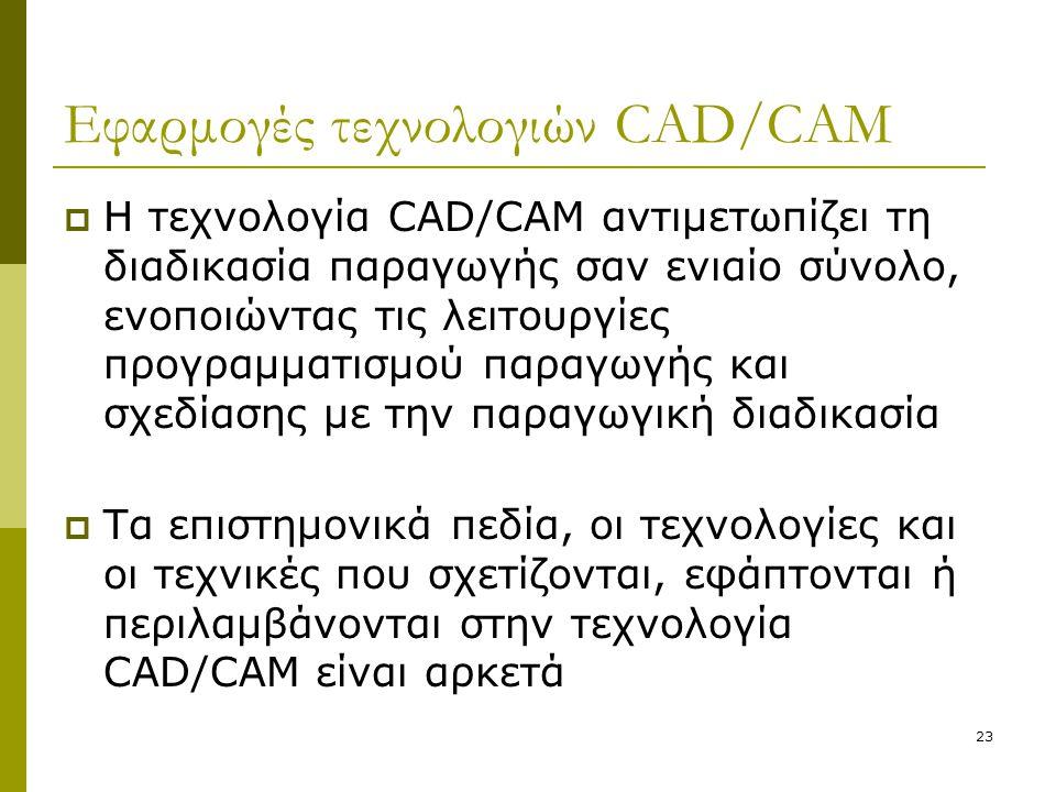 23 Εφαρμογές τεχνολογιών CAD/CAM  Η τεχνολογία CAD/CAM αντιμετωπίζει τη διαδικασία παραγωγής σαν ενιαίο σύνολο, ενοποιώντας τις λειτουργίες προγραμμα