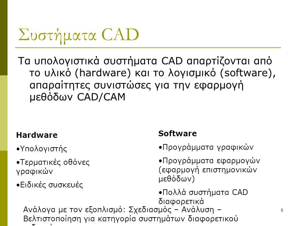 5 Συστήματα CAD Τα υπολογιστικά συστήματα CAD απαρτίζονται από το υλικό (hardware) και το λογισμικό (software), απαραίτητες συνιστώσες για την εφαρμογ