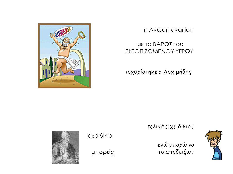 η Άνωση είναι ίση με το ΒΑΡΟΣ του ΕΚΤΟΠΙΖΟΜΕΝΟΥ ΥΓΡΟΥ ισχυρίστηκε ο Αρχιμήδης τελικά είχε δίκιο ; εγώ μπορώ να το αποδείξω ; είχα δίκιο μπορείς