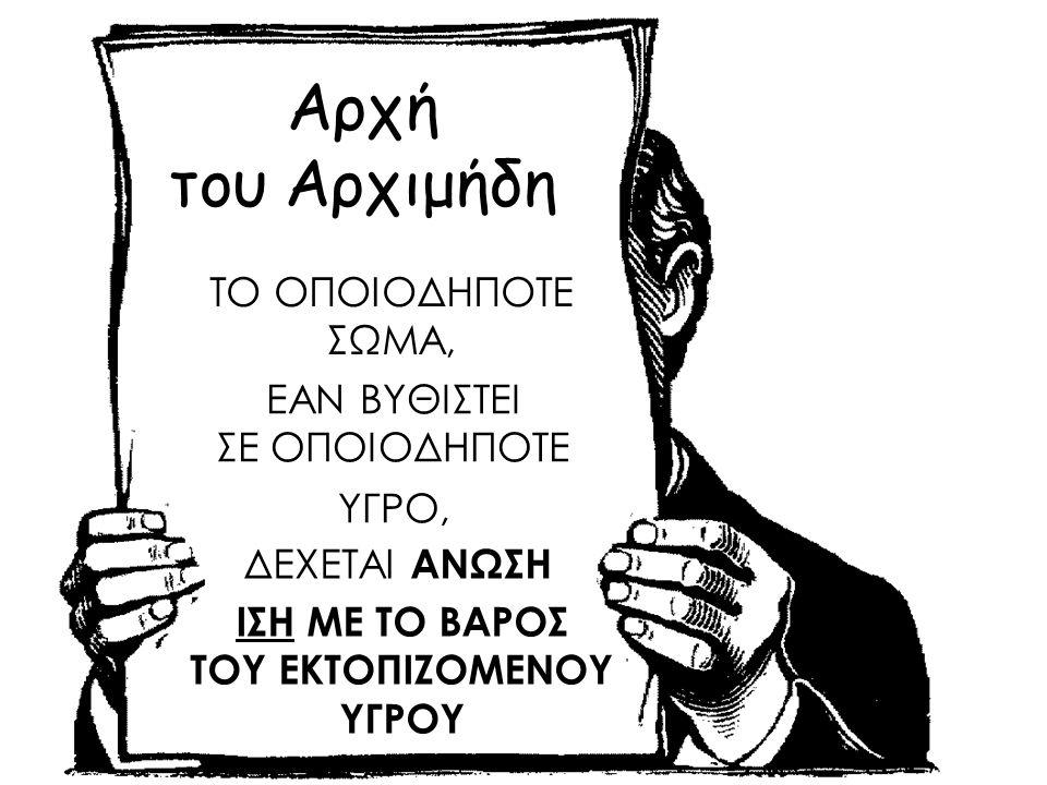 ΕΑΝ ΒΥΘΙΣΤΕΙ ΣΕ ΟΠΟΙΟΔΗΠΟΤΕ ΥΓΡΟ, Αρχή του Αρχιμήδη ΤΟ ΟΠΟΙΟΔΗΠΟΤΕ ΣΩΜΑ, ΔΕΧΕΤΑΙ ΑΝΩΣΗ ΙΣΗ ΜΕ ΤΟ ΒΑΡΟΣ ΤΟΥ ΕΚΤΟΠΙΖΟΜΕΝΟΥ ΥΓΡΟΥ