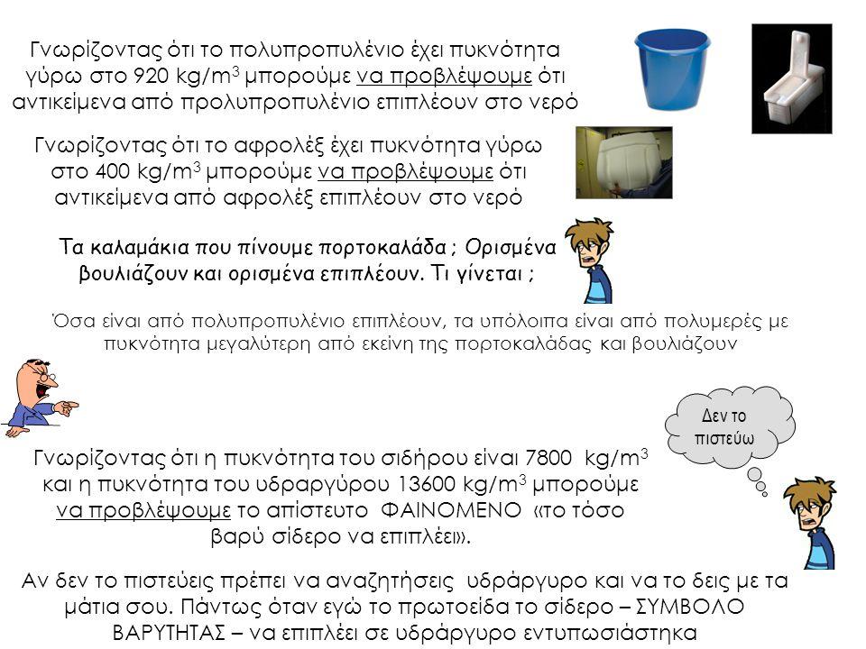 Γνωρίζοντας ότι το πολυπροπυλένιο έχει πυκνότητα γύρω στο 920 kg/m 3 μπορούμε να προβλέψουμε ότι αντικείμενα από προλυπροπυλένιο επιπλέουν στο νερό Γν
