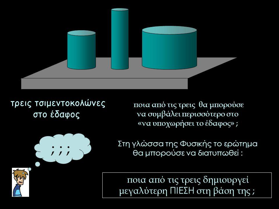 τρεις τσιμεντοκολώνες στο έδαφος ποια από τις τρεις δημιουργεί μεγαλύτερη ΠΙΕΣΗ στη βάση της ; ; ; ; ποια από τις τρεις θα μπορούσε να συμβάλει περισσ