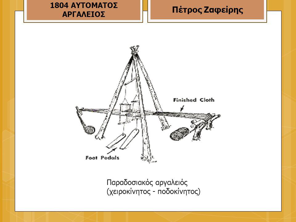 Παραδοσιακός αργαλειός (χειροκίνητος - ποδοκίνητος) 1804 ΑΥΤΟΜΑΤΟΣ ΑΡΓΑΛΕΙΟΣ Πέτρος Ζαφείρης
