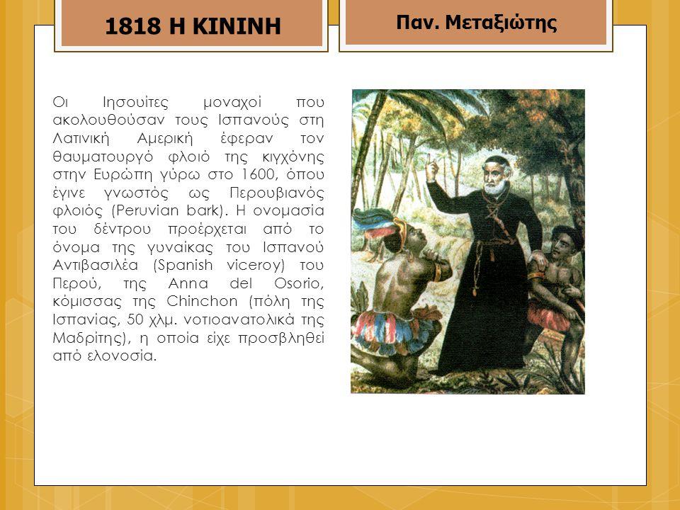 Οι Ιησουίτες μοναχοί που ακολουθούσαν τους Ισπανούς στη Λατινική Αμερική έφεραν τον θαυματουργό φλοιό της κιγχόνης στην Ευρώπη γύρω στο 1600, όπου έγινε γνωστός ως Περουβιανός φλοιός (Peruvian bark).