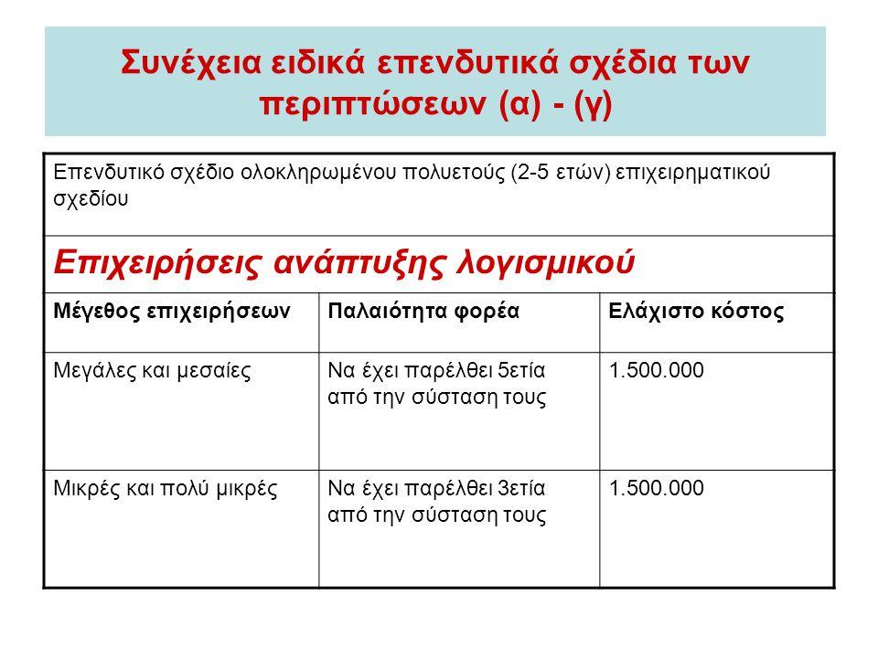 Συνέχεια ειδικά επενδυτικά σχέδια των περιπτώσεων (α) - (γ) Επενδυτικό σχέδιο ολοκληρωμένου πολυετούς (2-5 ετών) επιχειρηματικού σχεδίου Επιχειρήσεις