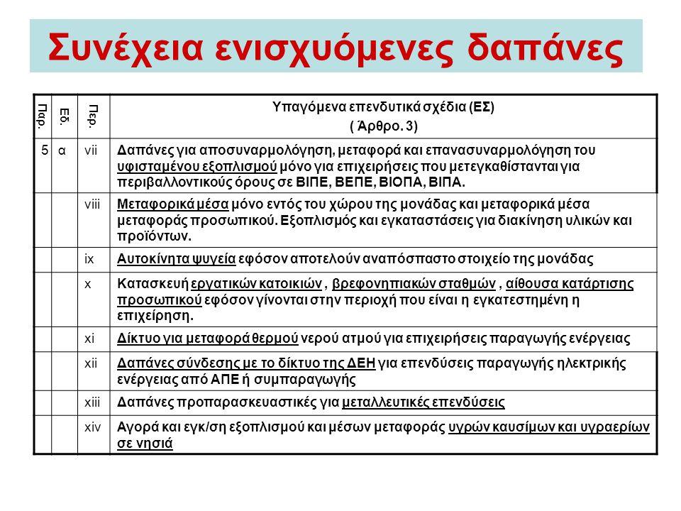 Συνέχεια ενισχυόμενες δαπάνες Παρ. Εδ. Περ. Υπαγόμενα επενδυτικά σχέδια (EΣ) ( Άρθρο. 3) 5αviiΔαπάνες για αποσυναρμολόγηση, μεταφορά και επανασυναρμολ