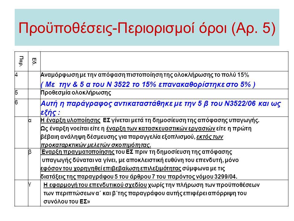 Προϋποθέσεις-Περιορισμοί όροι (Αρ. 5) Παρ. Εδ. 4Αναμόρφωση με την απόφαση πιστοποίηση της ολοκλήρωσης το πολύ 15% ( Με την & 5 α του Ν 3522 το 15% επα