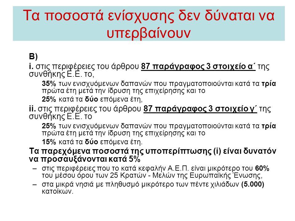 Τα ποσοστά ενίσχυσης δεν δύναται να υπερβαίνουν Β) i. στις περιφέρειες του άρθρου 87 παράγραφος 3 στοιχείο α΄ της συνθήκης Ε.Ε. το, 35% των ενισχυόμεν