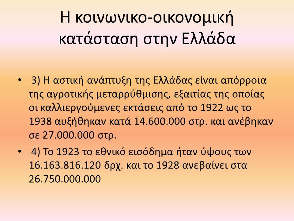 • 3) Η αστική ανάπτυξη της Ελλάδας είναι απόρροια της αγροτικής μεταρρύθμισης, εξαιτίας της οποίας οι καλλιεργούμενες εκτάσεις από το 1922 ως το 1938