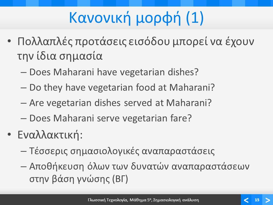 <> Κανονική μορφή (1) • Πολλαπλές προτάσεις εισόδου μπορεί να έχουν την ίδια σημασία – Does Maharani have vegetarian dishes.