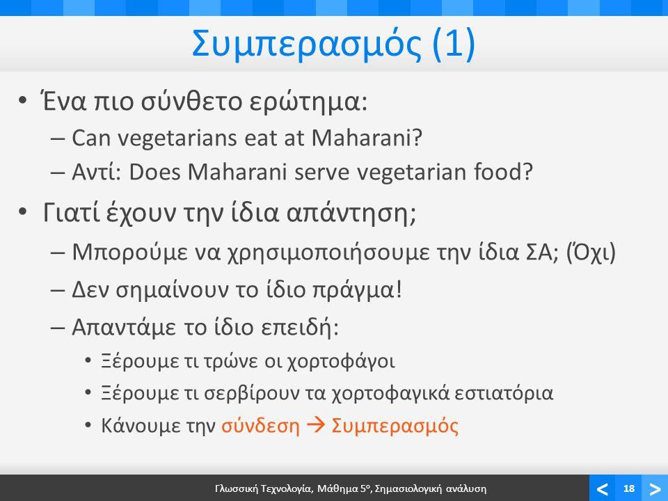 <> Συμπερασμός (1) • Ένα πιο σύνθετο ερώτημα: – Can vegetarians eat at Maharani.