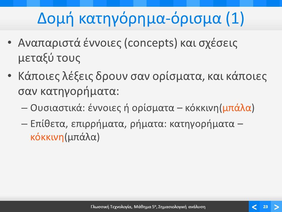 <> Δομή κατηγόρημα-όρισμα (1) • Αναπαριστά έννοιες (concepts) και σχέσεις μεταξύ τους • Κάποιες λέξεις δρουν σαν ορίσματα, και κάποιες σαν κατηγορήματα: – Ουσιαστικά: έννοιες ή ορίσματα – κόκκινη(μπάλα) – Επίθετα, επιρρήματα, ρήματα: κατηγορήματα – κόκκινη(μπάλα) Γλωσσική Τεχνολογία, Μάθημα 5 ο, Σημασιολογική ανάλυση23