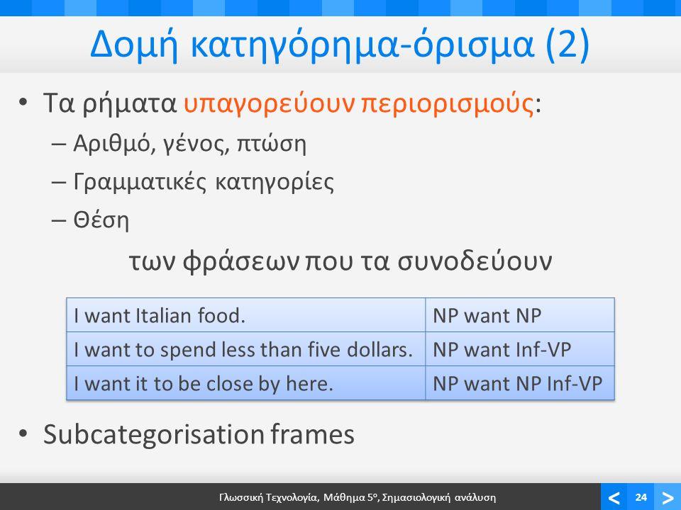 <> Δομή κατηγόρημα-όρισμα (2) • Τα ρήματα υπαγορεύουν περιορισμούς: – Αριθμό, γένος, πτώση – Γραμματικές κατηγορίες – Θέση των φράσεων που τα συνοδεύουν • Subcategorisation frames Γλωσσική Τεχνολογία, Μάθημα 5 ο, Σημασιολογική ανάλυση24