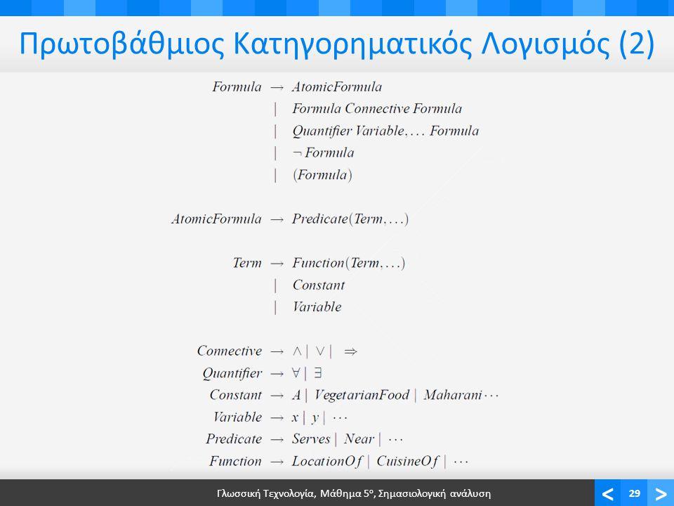 <> Πρωτοβάθμιος Κατηγορηματικός Λογισμός (2) Γλωσσική Τεχνολογία, Μάθημα 5 ο, Σημασιολογική ανάλυση29