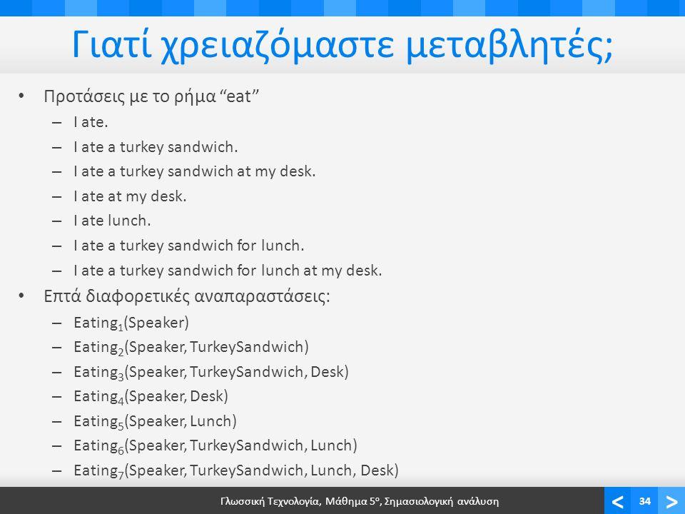 <> Γιατί χρειαζόμαστε μεταβλητές; • Προτάσεις με το ρήμα eat – I ate.