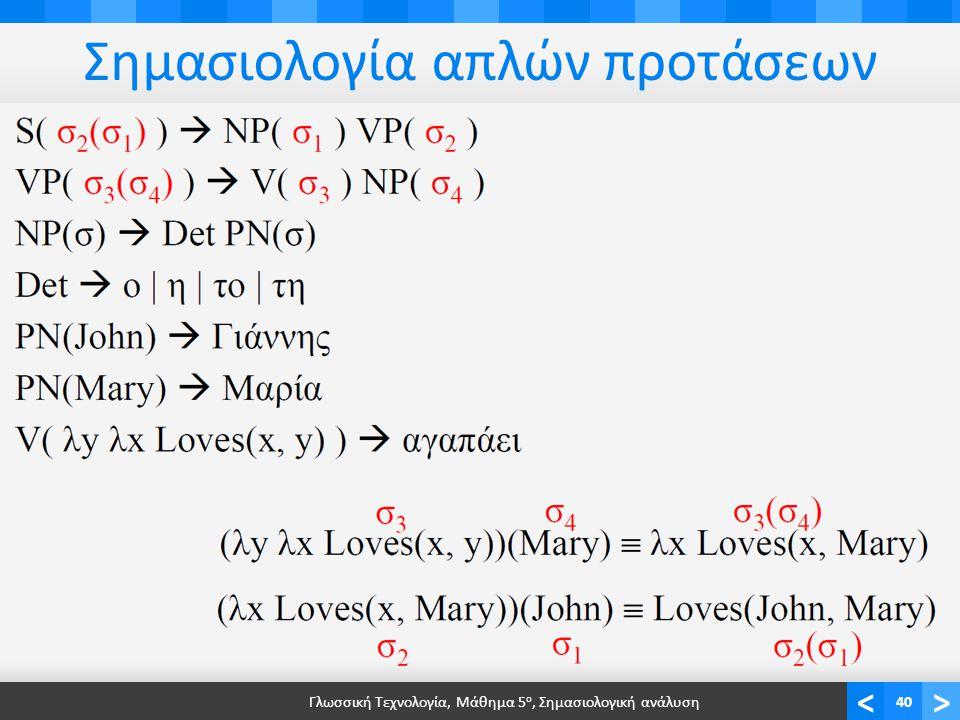 <> Σημασιολογία απλών προτάσεων Γλωσσική Τεχνολογία, Μάθημα 5 ο, Σημασιολογική ανάλυση40