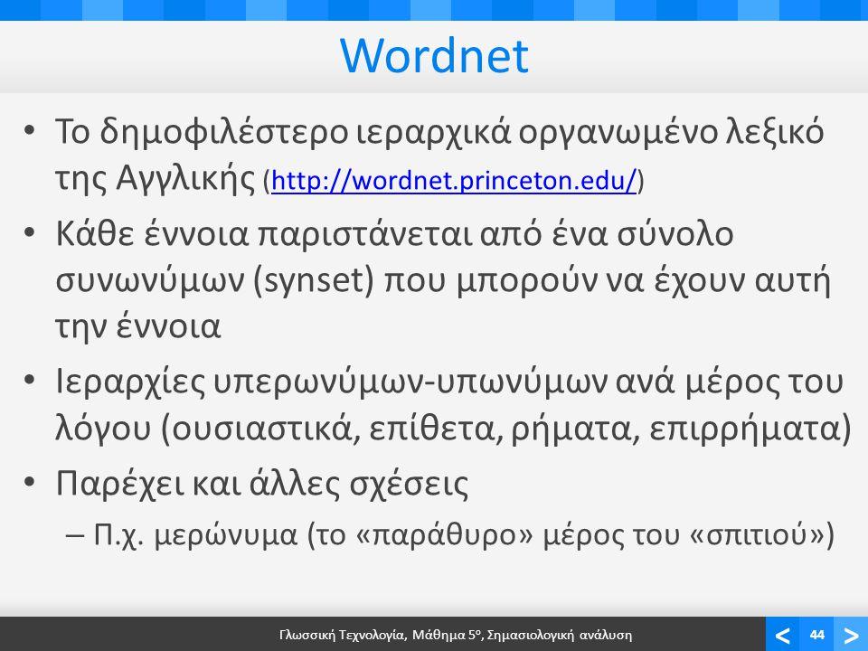 <> Wordnet • Το δημοφιλέστερο ιεραρχικά οργανωμένο λεξικό της Αγγλικής (http://wordnet.princeton.edu/)http://wordnet.princeton.edu/ • Κάθε έννοια παριστάνεται από ένα σύνολο συνωνύμων (synset) που μπορούν να έχουν αυτή την έννοια • Ιεραρχίες υπερωνύμων-υπωνύμων ανά μέρος του λόγου (ουσιαστικά, επίθετα, ρήματα, επιρρήματα) • Παρέχει και άλλες σχέσεις – Π.χ.