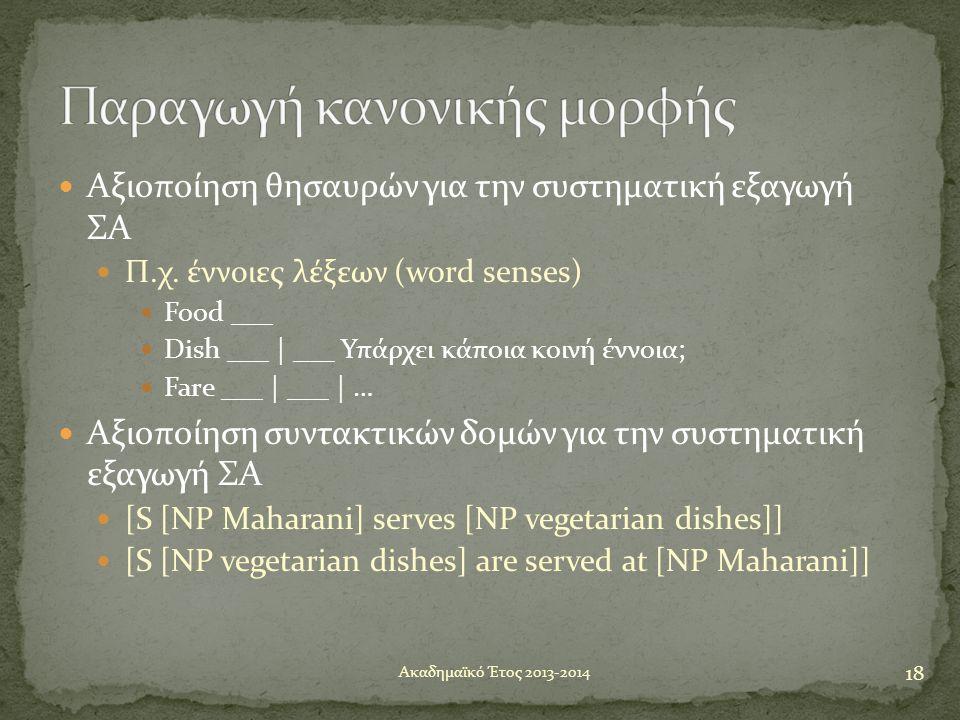  Αξιοποίηση θησαυρών για την συστηματική εξαγωγή ΣΑ  Π.χ. έννοιες λέξεων (word senses)  Food ___  Dish ___ | ___ Υπάρχει κάποια κοινή έννοια;  Fa