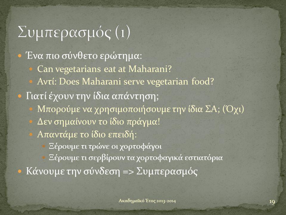  Ένα πιο σύνθετο ερώτημα:  Can vegetarians eat at Maharani?  Αντί: Does Maharani serve vegetarian food?  Γιατί έχουν την ίδια απάντηση;  Μπορούμε