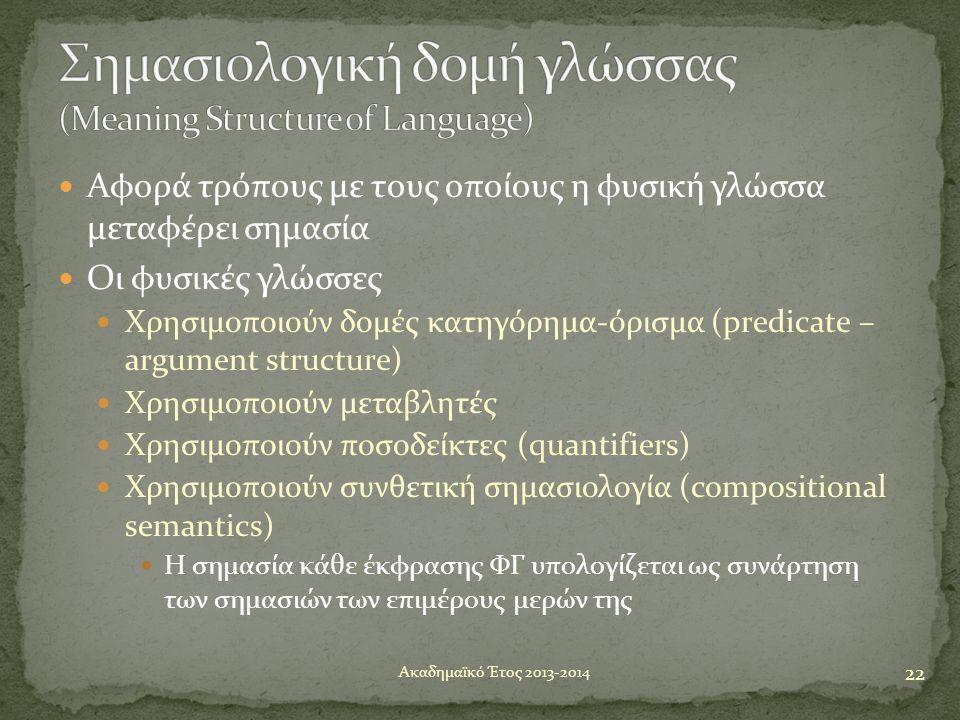  Αφορά τρόπους με τους οποίους η φυσική γλώσσα μεταφέρει σημασία  Οι φυσικές γλώσσες  Χρησιμοποιούν δομές κατηγόρημα-όρισμα (predicate – argument s