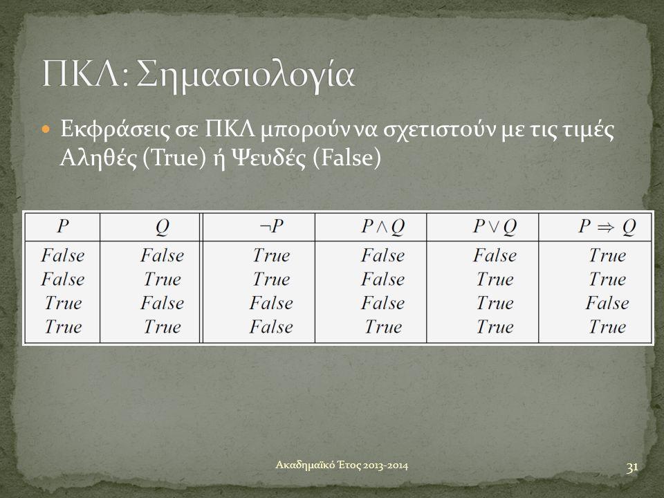  Εκφράσεις σε ΠΚΛ μπορούν να σχετιστούν με τις τιμές Αληθές (True) ή Ψευδές (False) 31 Ακαδημαϊκό Έτος 2013-2014