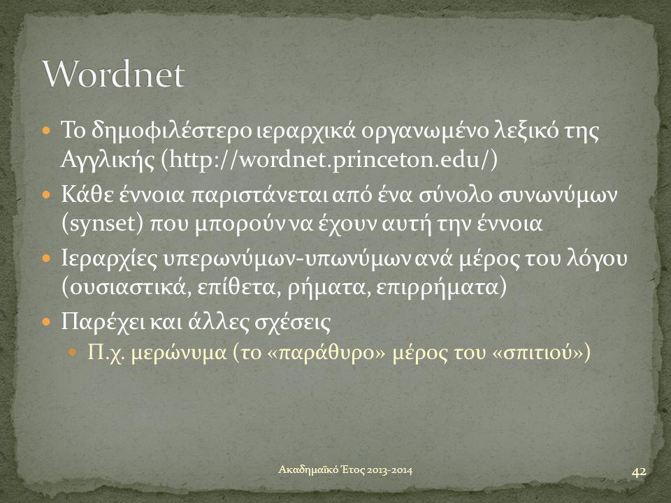  Το δημοφιλέστερο ιεραρχικά οργανωμένο λεξικό της Αγγλικής (http://wordnet.princeton.edu/)  Κάθε έννοια παριστάνεται από ένα σύνολο συνωνύμων (synse